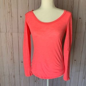 PINK neon pink, long sleeve, back cut out tee